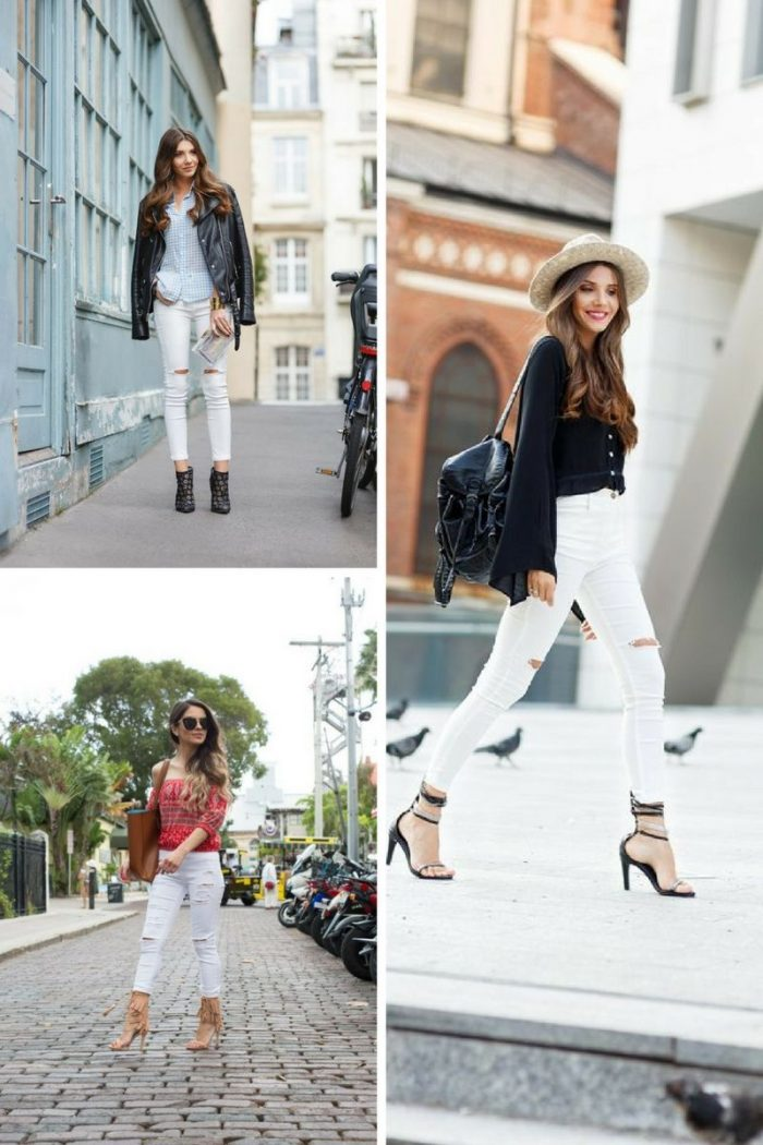 15 Street Looks Of White Zerrissene Jeans Für Damen